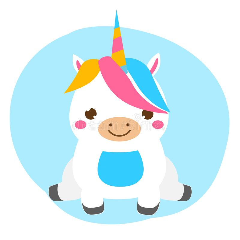 Cute unicorn sitting. Kawaii style. Cartoon magic animal character for kids, toddlers and babies fashion. Isolated vector design element stock illustration