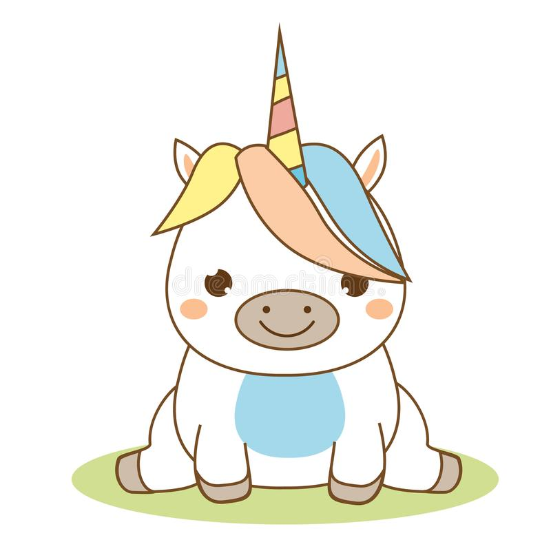 Cute unicorn sitting. Kawaii style. Cartoon magic animal character for kids, toddlers and babies fashion. Isolated vector design elements royalty free illustration