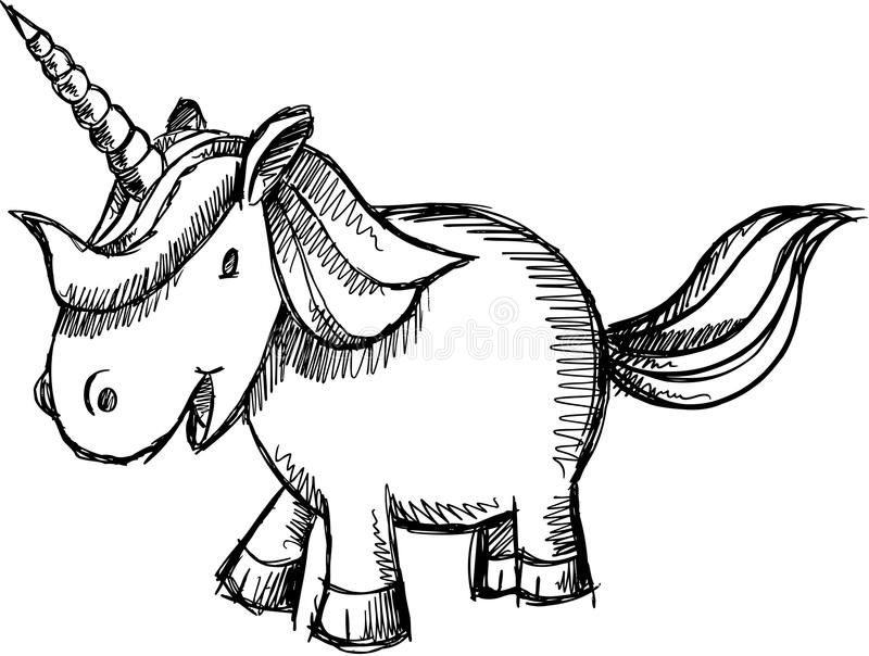 cute unicorn sketch doodle vector stock vector