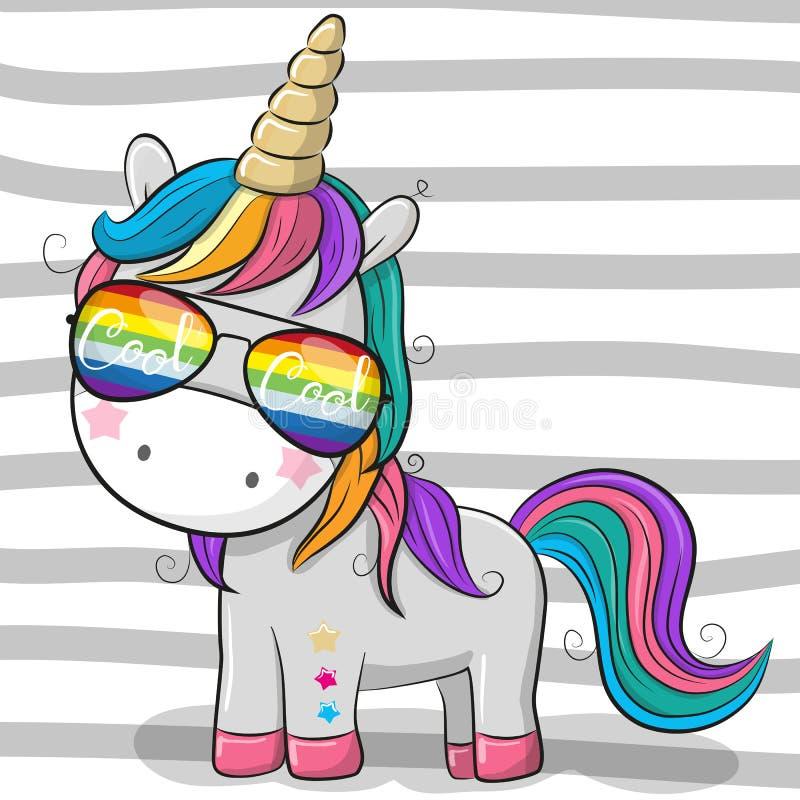 Cute unicorn with sun glasses vector illustration
