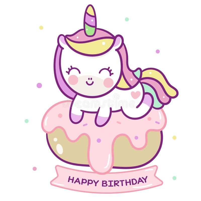 Cute Unicorn vector donut cake Happy birthday Kawaii pony cartoon royalty free illustration
