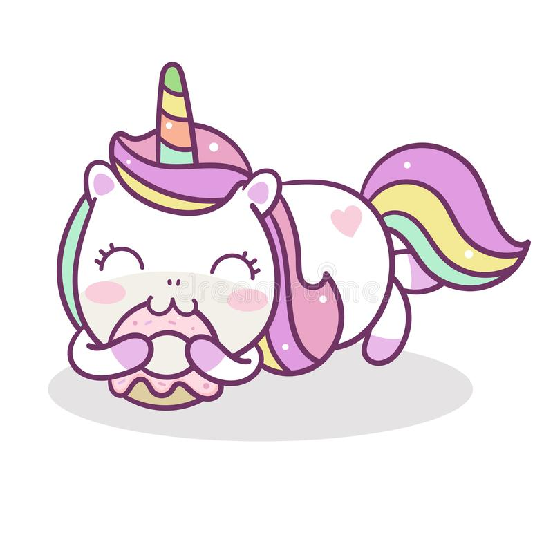 Cute Unicorn vector donut cake Happy birthday pastel color stock illustration