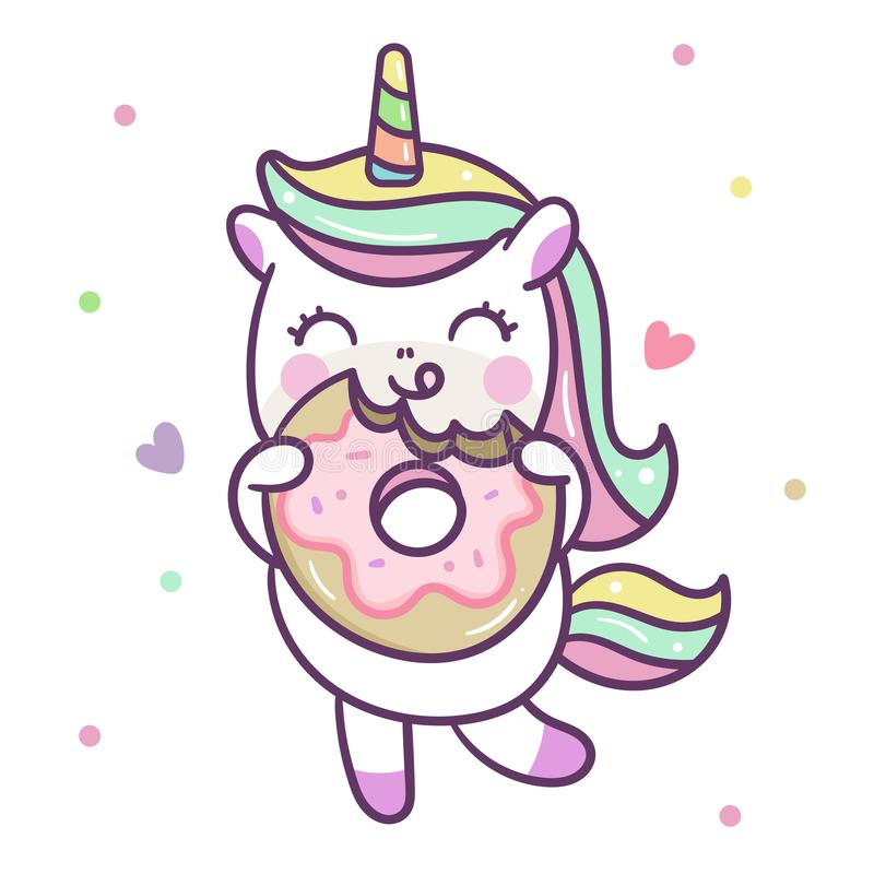 Cute Unicorn vector with Donut, Nursery decoration vector illustration