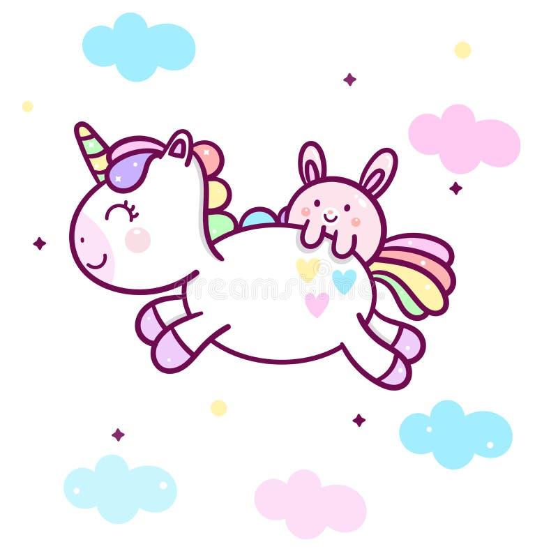 Cute Unicorn vector Kawaii pony character and bunny rabbit cartoon jump on clouds pastel color royalty free illustration