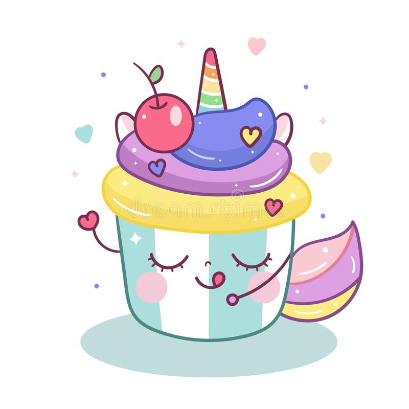 Cute Unicorn vector in magic cupcake cartoon pastel color. Muffin isolated on white background, Yummy dessert bakery, Birthday party, Kawaii animal pony royalty free illustration