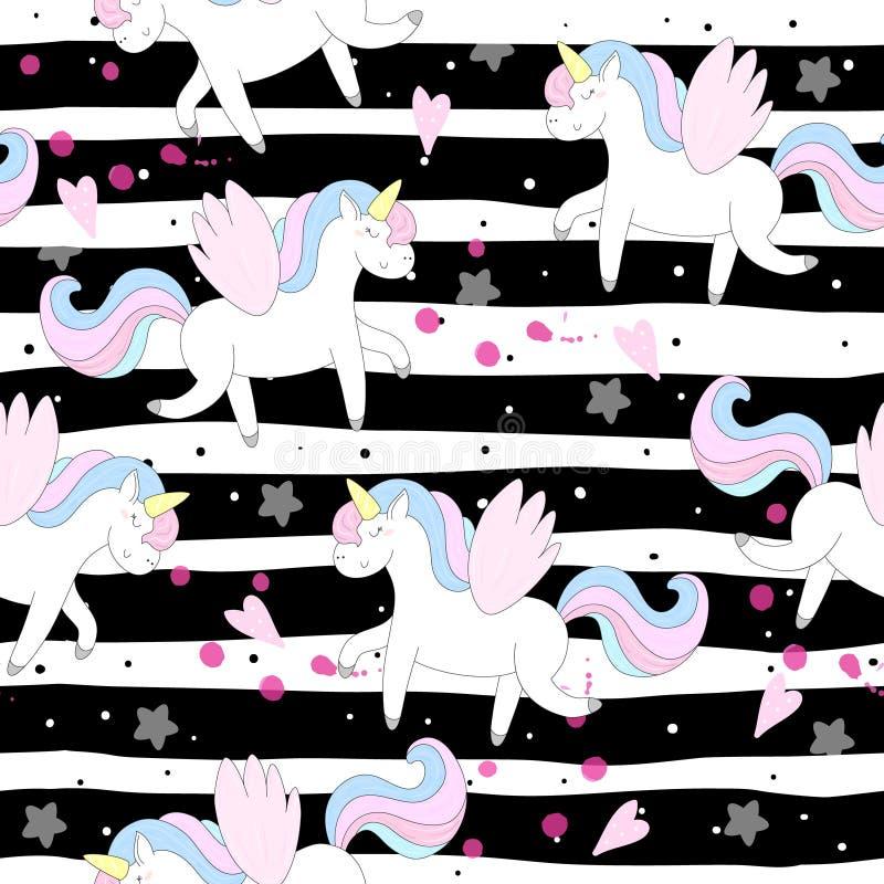 Cute unicorn vector pattern royalty free illustration