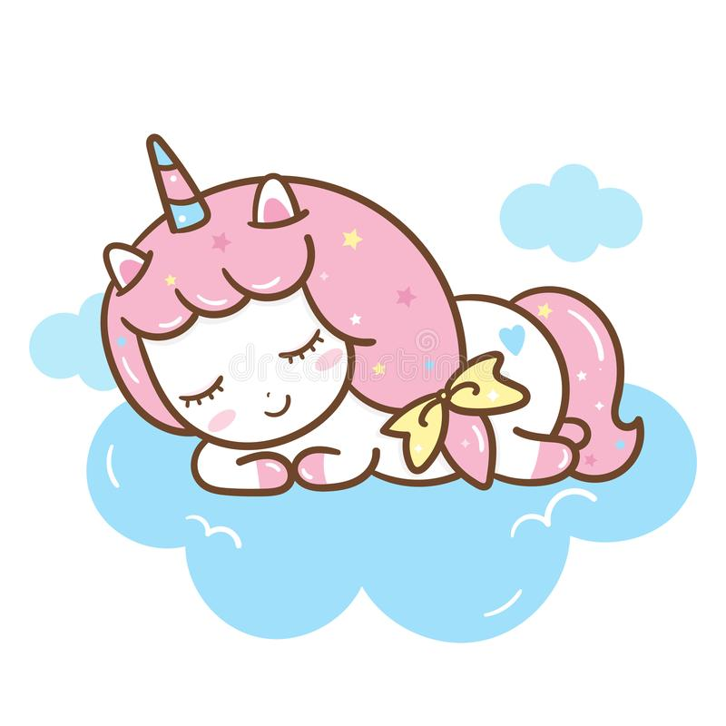 Cute Unicorn vector pony cartoon sleep on cloud, Kawaii Animal character vector illustration