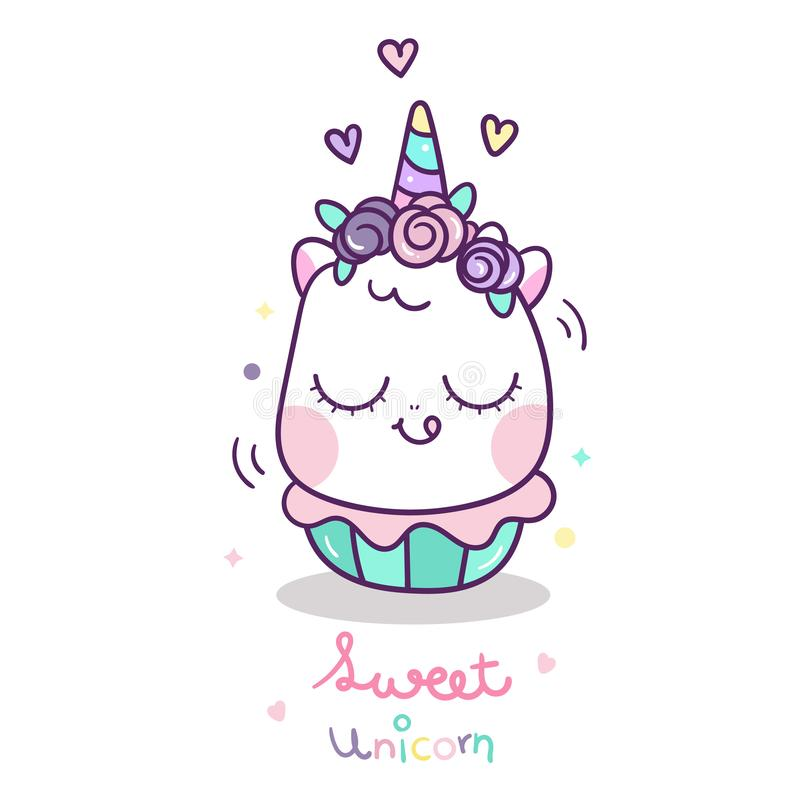 Cute Unicorn vector with sweet cup cake cartoon, Happy birthday party, Kawaii animal pony, Doodle Nursery decoration. Hand drawn fairytale horse- Perfect for royalty free illustration