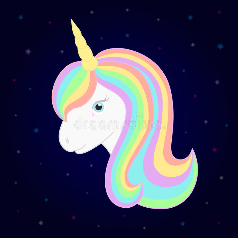 Cute unicorn. Vector unicorn head with beautiful rainbow mane and horn. Starry background. royalty free illustration
