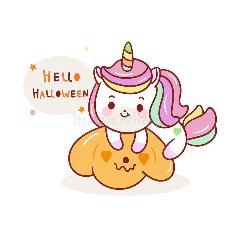 Cute unicorn Vectoriel d'Halloween, jack o lantern icons Pumpkin artwork, dessin animé de l'animal poney Kawaii illustration libre de droits