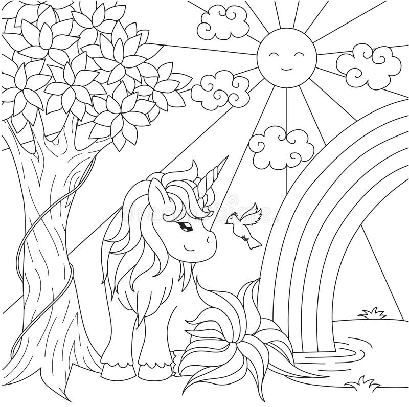 Cute unicorn watching rainbow on the pond for design element and coloring book page. Vector illustration stock illustration