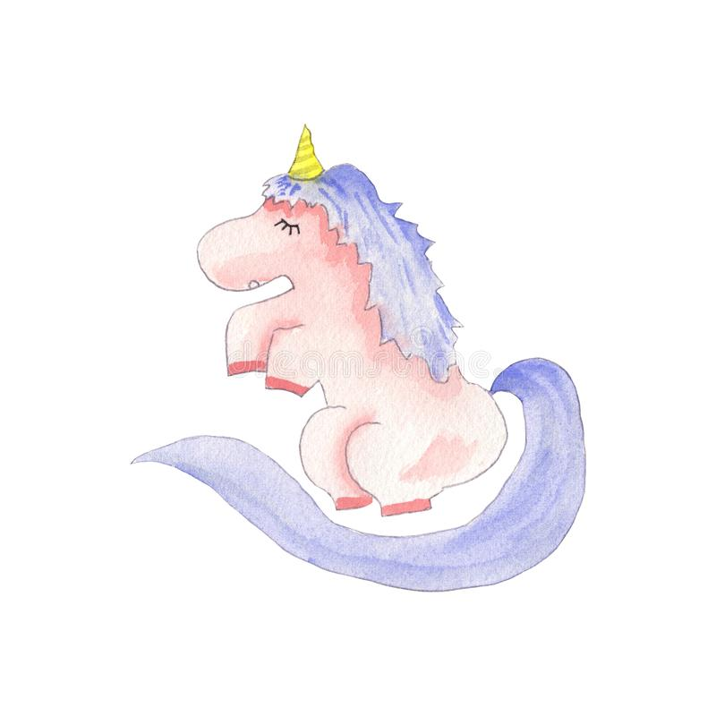 Cute unicorn watercolor royalty free stock photography
