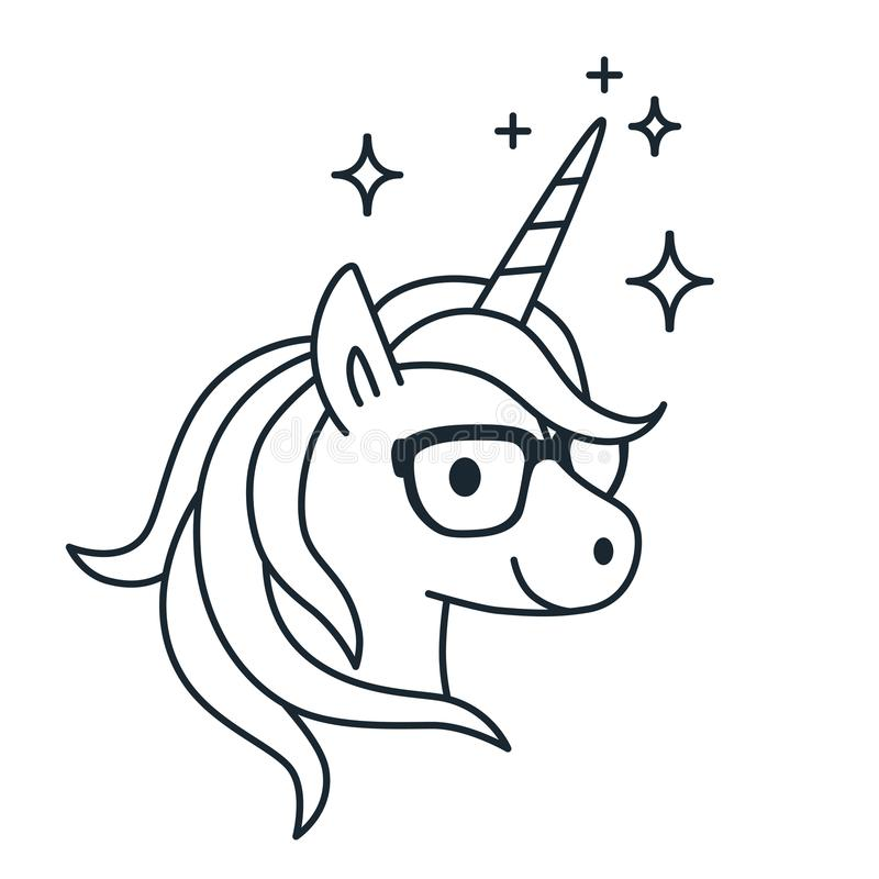 Cute Unicorn Wearing Eyeglasses Single Color Outline Illustratio ...