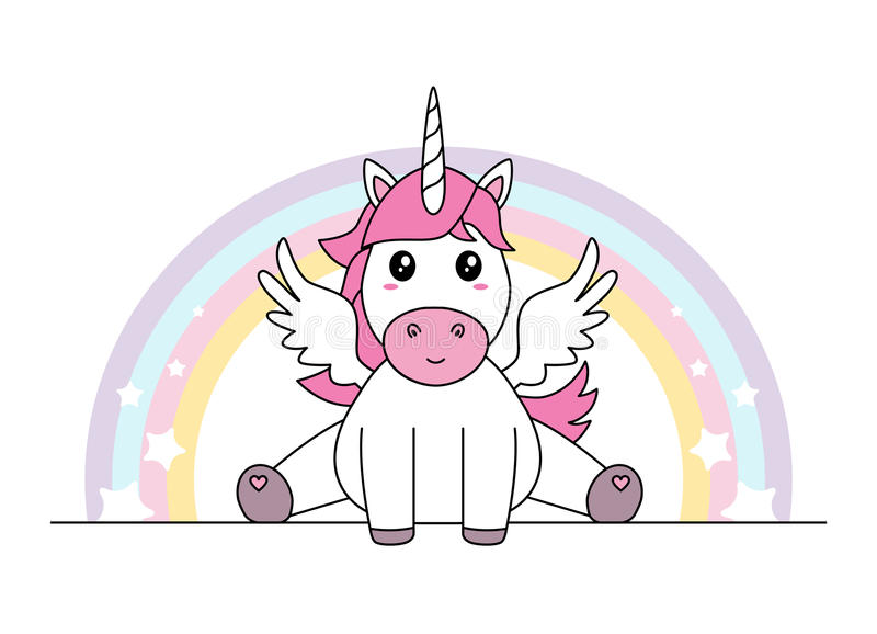 Cute unicorn with wings sitting vector illustration