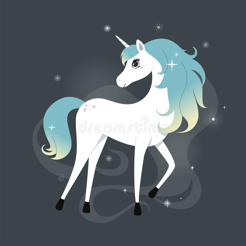 Free Cute Unicorn With Glittering And Rainbow Hair Over Dark Background With Stars. Vector. Royalty Free Stock Image - 220573576