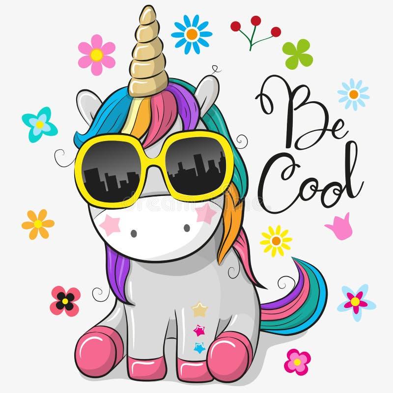 Free Cute Unicorn With Sun Glasses Stock Photos - 114223793