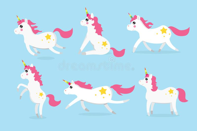 Cute unicorns character set of six. V stock illustration