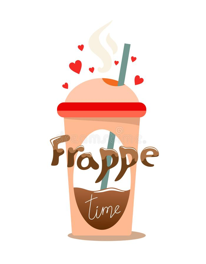 A cute and unique glass of Frappe drink in pink color, with a straw and hearts, with volumetric text in the style of liquid. Illus. Tration in cartoon style vector illustration