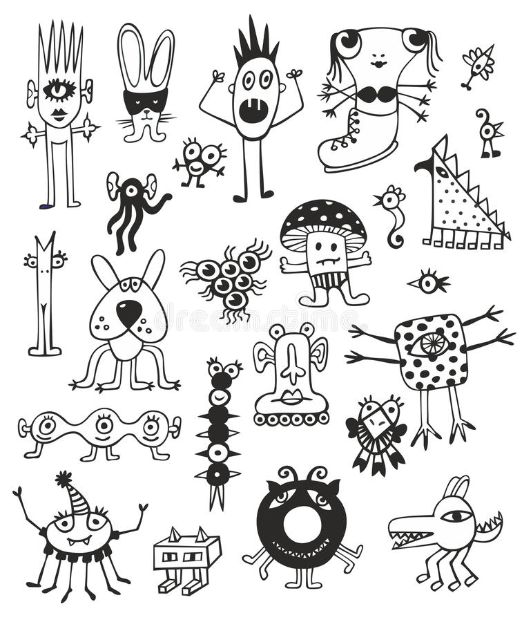 Download Cute Unusual Black And White Monsters Stock Vector - Image: 25976346
