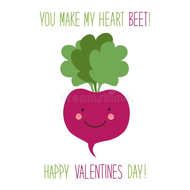 Cute unusual hand drawn Valentines Day card with funny cartoon characters of beet royalty free illustration