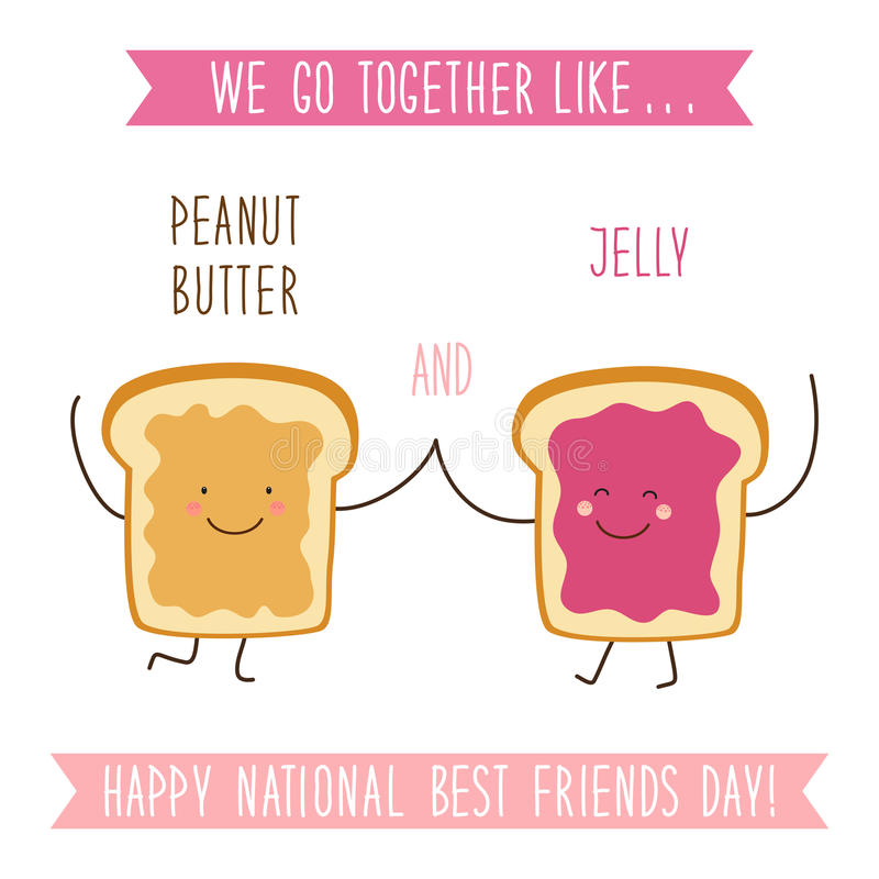 Cute unusual National Best Friends Day card as funny hand drawn cartoon characters and hand written text stock illustration