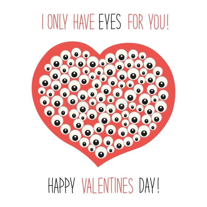 Free Cute Unusual Valentine`s Day Card With Funny Cartoon Character Of Heart With Many Eyes And Hand Written Text Stock Image - 103453291