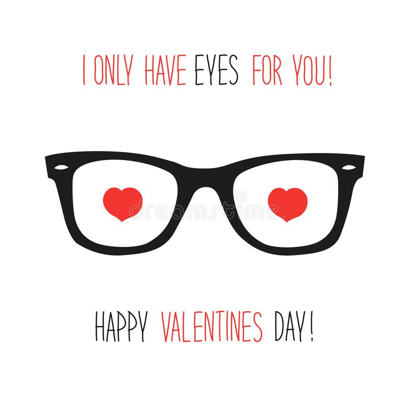 Free Cute Unusual Vintage Valentine`s Day Card With Funny Glasses And Heart Shaped Eyes Stock Photo - 103453520