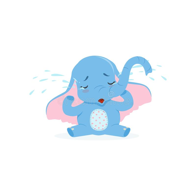 Cute upset baby elephant sitting and crying, funny jungle animal character vector Illustration stock illustration