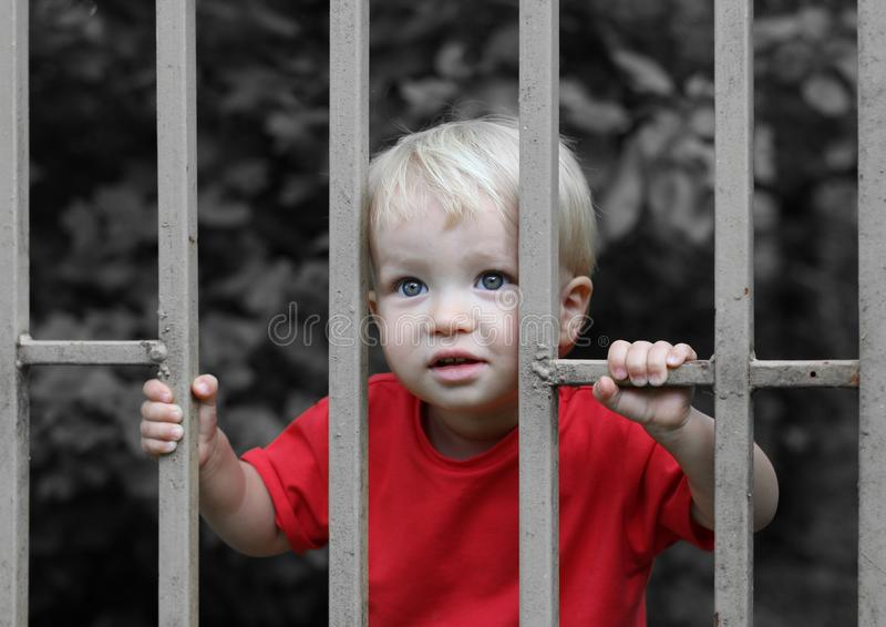 Cute upset blond toddler boy behind bars. Parenting difficulties or juvenile justice concept royalty free stock photos