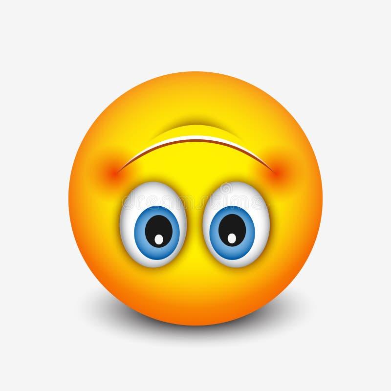 Cute Upside Down Face Emoticon, Emoji - Vector