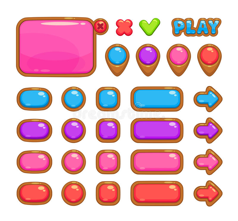 Cute user interface. For web or game design including panel, map pointers and different buttons royalty free illustration