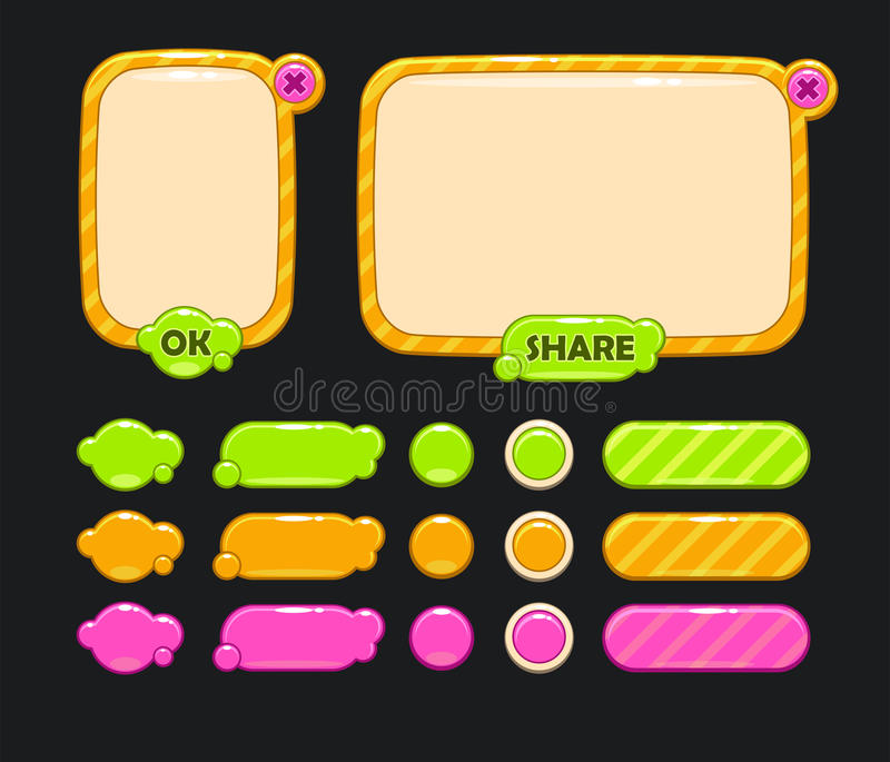 Cute user interface. For web or game design including panels and buttons vector illustration