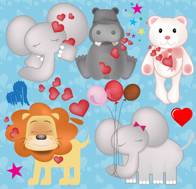 Cute valentine animals in love graphics royalty free stock photography