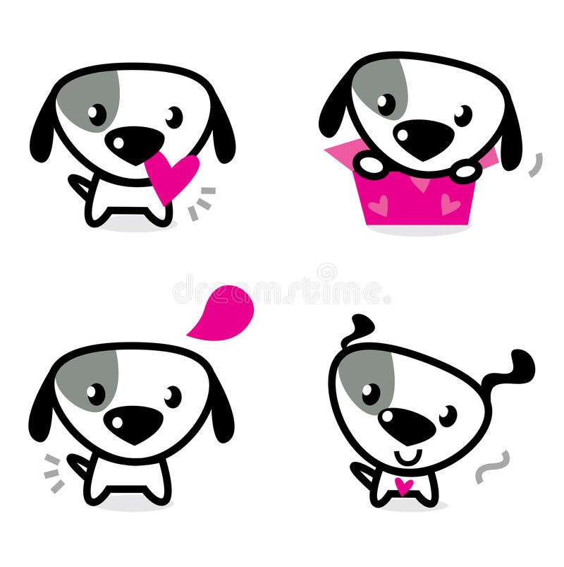 Cute Valentine Dogs Set Stock Photography