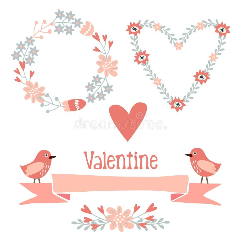 Cute valentine elements set with flowers, wreath,. Hearts, ribbon, birds, illustration collection stock illustration