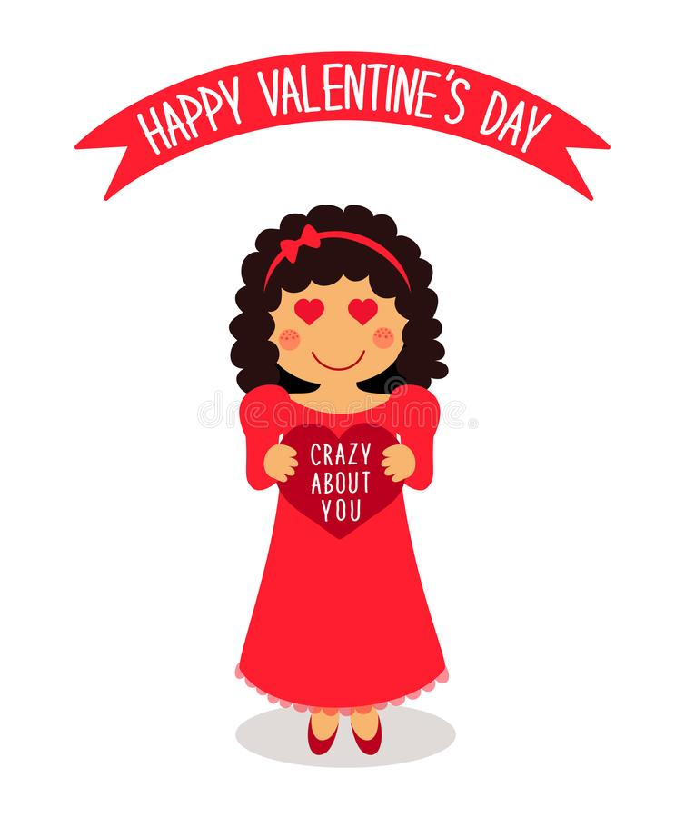 Cute Valentine`s Day card with funny cartoon character of loving girl with heart in hands royalty free illustration
