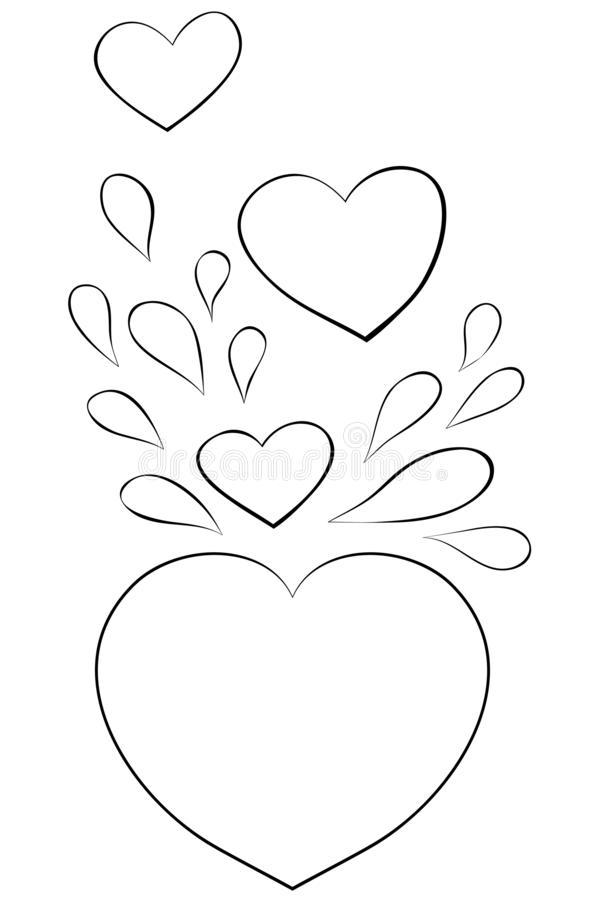 cute valentine s day theme illustration adults line art style image print group hearts black white image adult