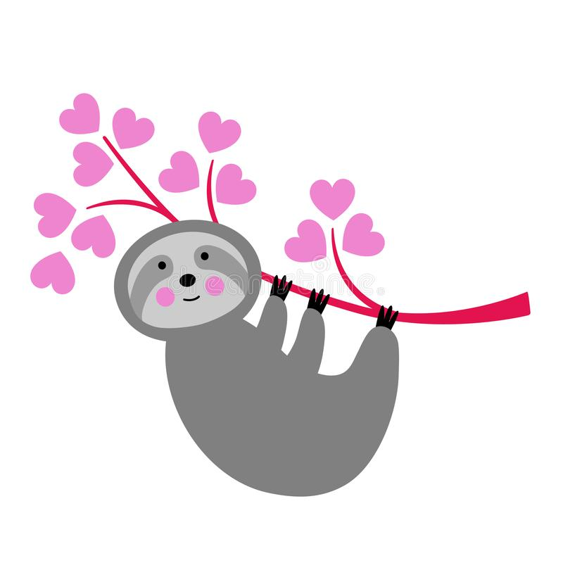 Cute valentine sloth hanging from branch with hearts vector illustration