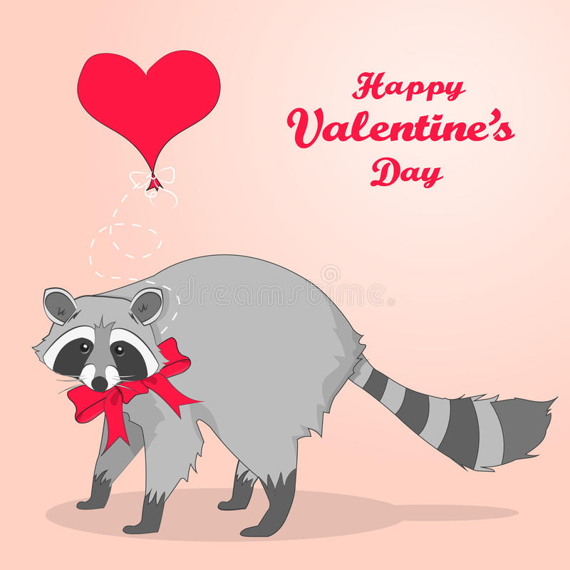 Cute valentines day card with cartoon character racoon stock vector download cute valentines day card with cartoon character racoon stock vector illustration of background voltagebd Image collections