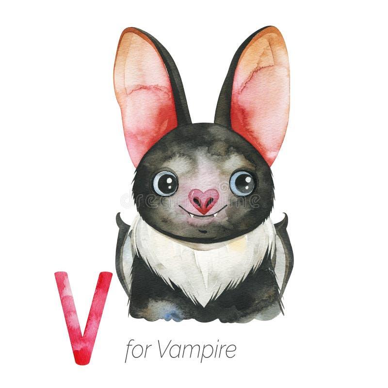 Free Cute Vampire Bat For V Letter. Royalty Free Stock Photo - 165996915