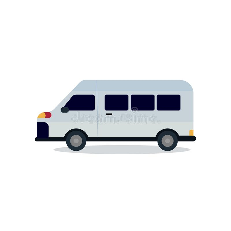 Cute van design with isolated white vector.Mini bus flat style. royalty free illustration