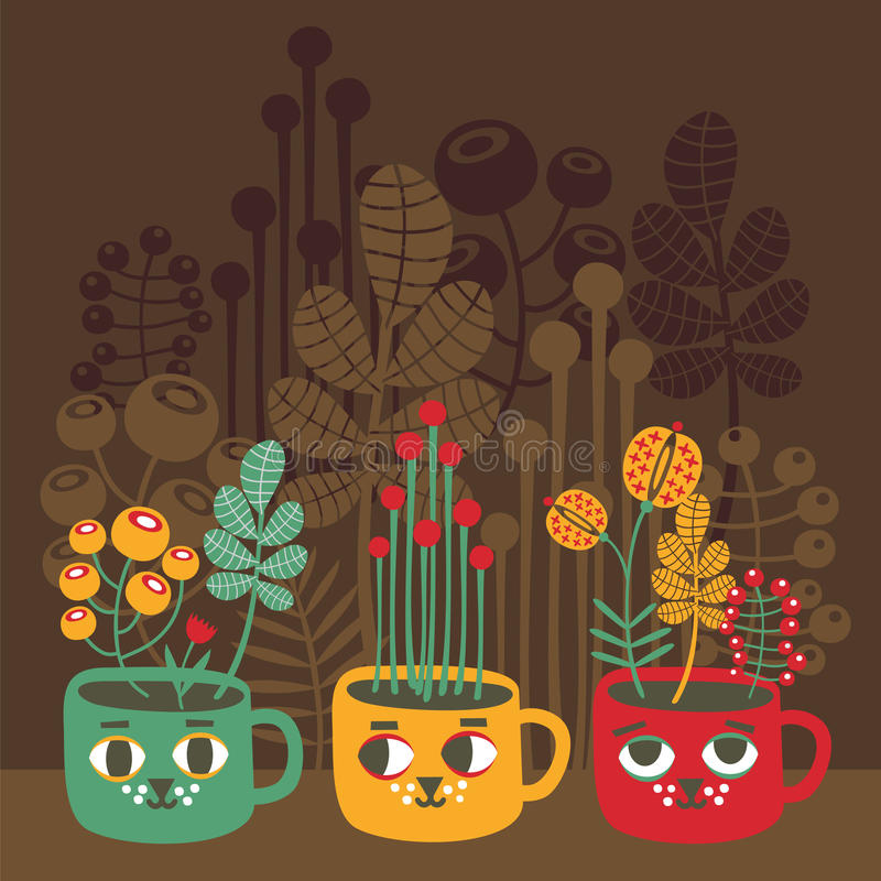 Cute vases with flowers - cat faces. vector illustration