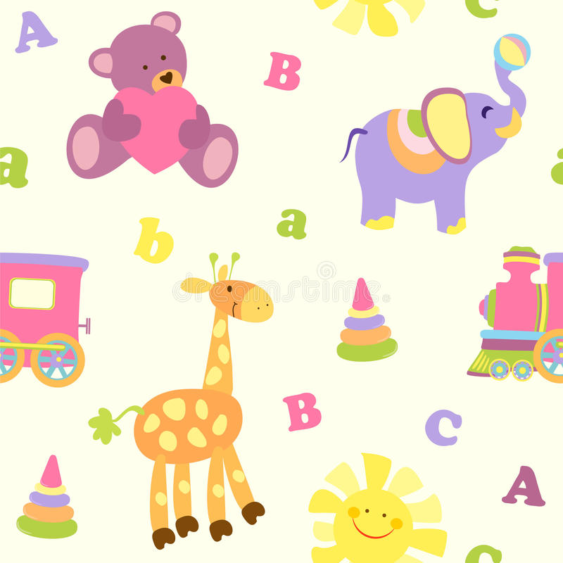 Cute vector baby seamless background. Cartoon children pattern. Cute vector baby seamless background. Cartoon children seamless pattern with color animals stock illustration