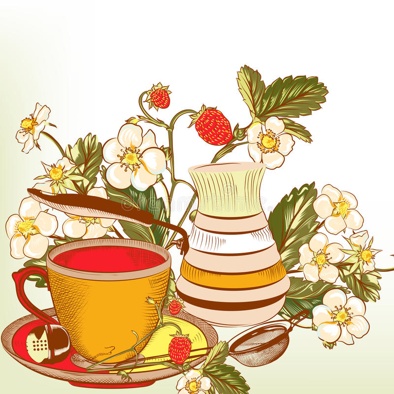 Cute vector background with cup of tea or coffee and strawberry vector illustration