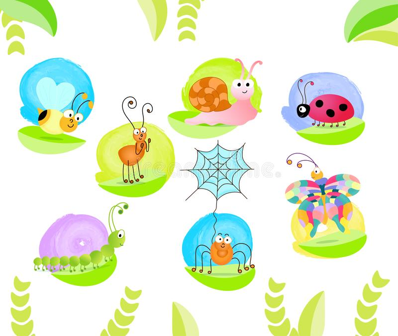 Cute bugs set royalty free stock images