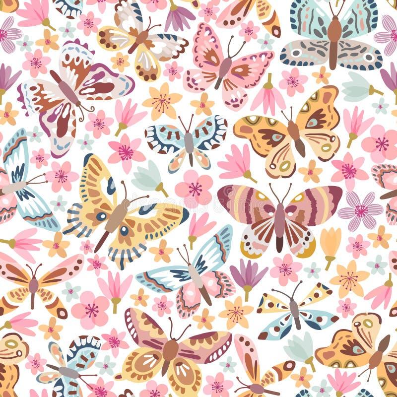 Vector butterfly seamless pattern stock illustration