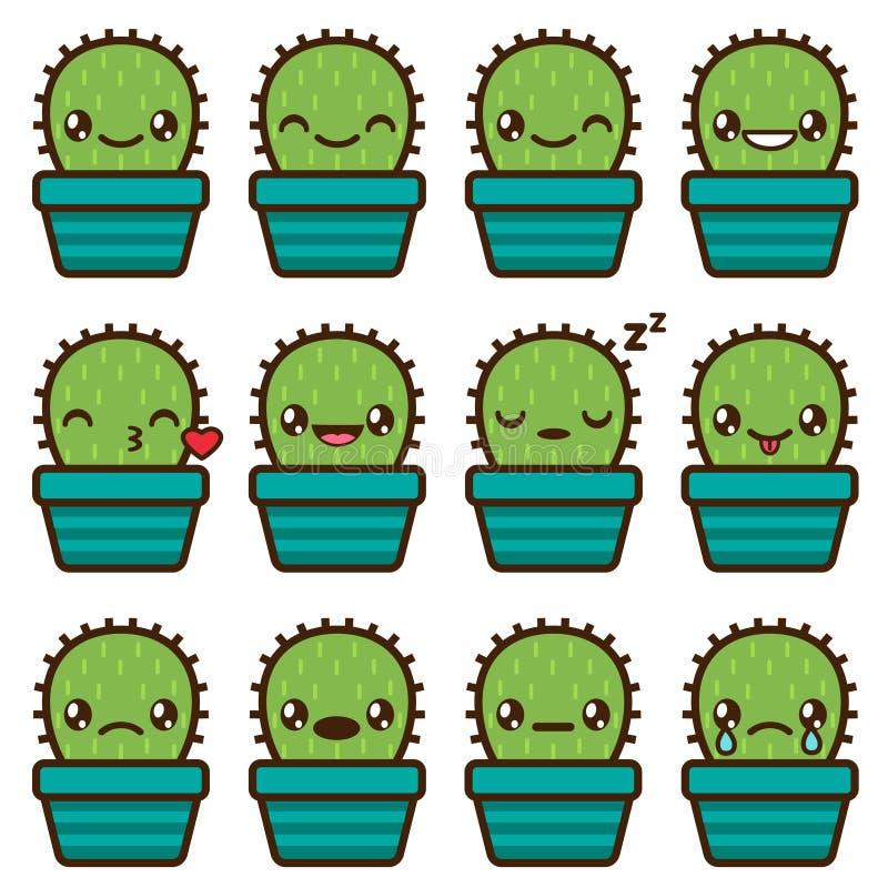 Cute vector cactus emoticons. Cute vector emoticons and emojis set of cactus vector illustration