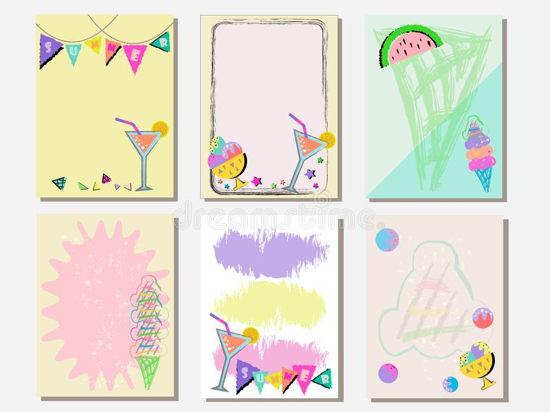 Cute vector card set of ice creams and sweets. Vintage cards with patterns and ornaments. Hand drawn card set for menus, brochures. Summer set and template royalty free illustration