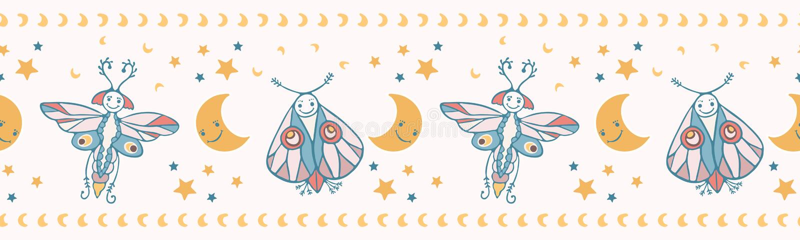 Cute vector cartoon lunar moth with happy smiling face vector illustration