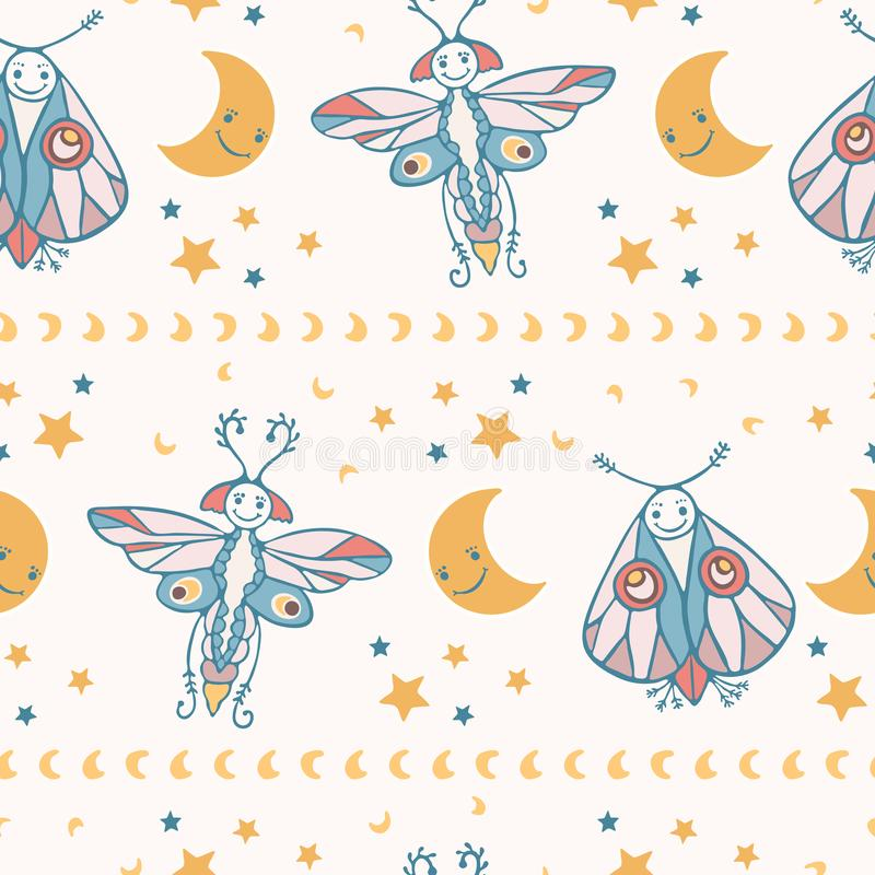 Cute vector cartoon lunar moth with happy smiling face royalty free illustration